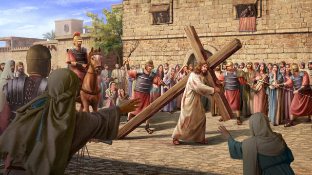 O Senhor Jesus carregando a cruz na estrada