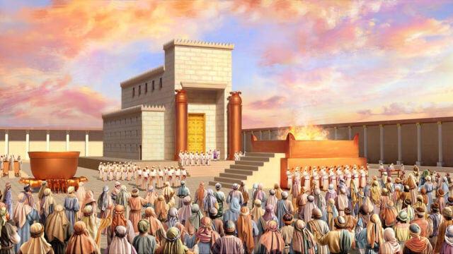israelitas adora a Jeová no templo